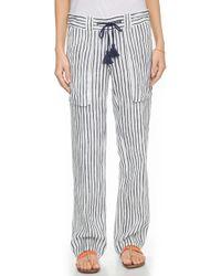 Tory Burch Vallauris Stripe Beach Pants - Tory Navy Vallaris Stripe/Navy - Lyst