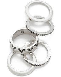 House of Harlow 1960 - Shakti Stack Ring Set - Silver Multi - Lyst