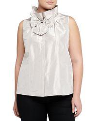 Lafayette 148 New York Silk Sleeveless Blouse W Bow Mist - Lyst