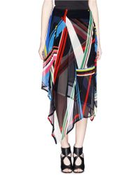 Preen 'Simi' Multi Stripe Print Irregular Hem Skirt - Lyst