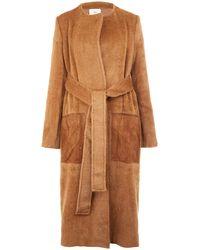 Edun - Tan Collarless Suede Pocket Alpacablend Coat - Lyst