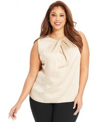 Jones New York Collection Plus Size Sleeveless Polka-Dot Top - Lyst