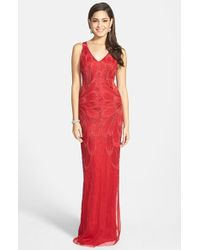 Adrianna Papell Beaded Open-Back Column Gown - Lyst