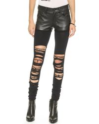 R13 Hiromi Knit Chaps with Faux Leather  Black - Lyst