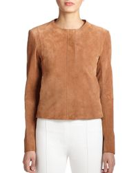 The Row Spiketon Suede Jacket brown - Lyst