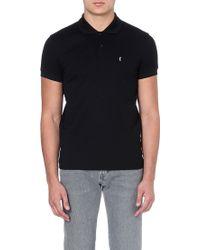 Saint Laurent Cottonpique Polo Shirt Black - Lyst