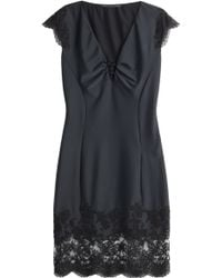 Ermanno Scervino Satin Dress With Lace - Lyst