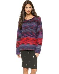 Elizabeth And James Space Dye Striped Pullover  Winecrimson - Lyst