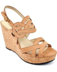 Adrienne Vittadini Camber Leather Platform Wedge Sandals - Lyst