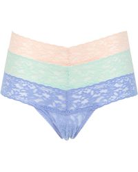 Hanky Panky Pack Of 3 Low Rise Lace Thongs - Lyst