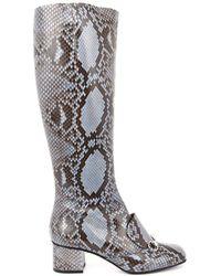 Gucci Lillian Horsebit Python Boots - Lyst