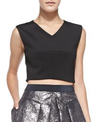 Rebecca Taylor Sleeveless V-neck Crop Top - Lyst