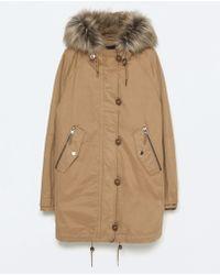 Zara Cotton Parka With Furry Hood beige - Lyst