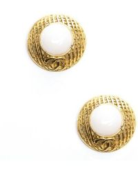 Chanel Preowned Gold Cc White Stone Clip On Earrings - Lyst