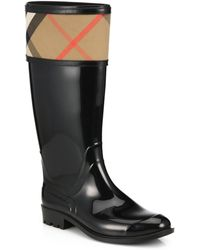 Burberry Crosshil Horseferry Mid-Calf Rubber Rain Boot - Lyst