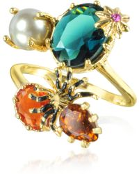 Les Nereides - Eclatante Discretion Little Spider Blue Stone And Red Star Ring - Lyst