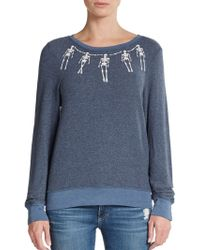 Wildfox Skeleton Necklace Graphic Top - Lyst