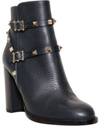 Valentino Leather Boots With Studs - Lyst