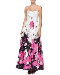 Milly Ava Strplss Floral Gown - Lyst