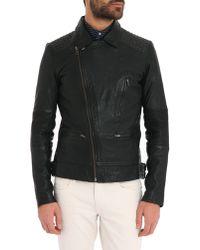 Ikks Black Embossed Leather Jacket - Lyst