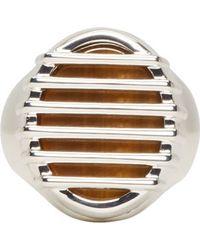 Maison Martin Margiela Silver Caged Stone Ring - Lyst