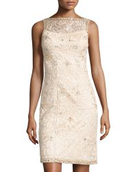 Sue Wong Openback Beaded Cocktail Dress - Lyst
