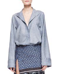 Donna Karan New York Long Sleeve Caftan Shirt With French Cuffs - Lyst