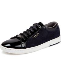 Ted Baker Yocob Patent and Suede Low Top Sneakers - Lyst
