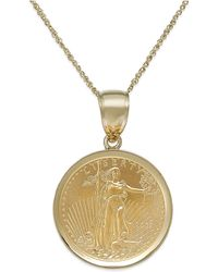 Macy's Us Genuine Eagle Coin Pendant Necklace In 22K And 14K Gold - Lyst
