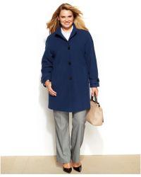 Jones New York Plus Size Wool-Blend Walker Coat - Lyst