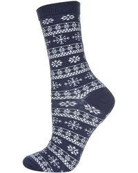 Topshop Snowflake Fairisle Ankle Socks - Lyst