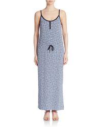 Calvin Klein Jeans Printed Cinched Waist Maxi Dress - Lyst