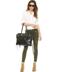 7 For All Mankind Panel Zip Moto Pants Olive Sateen - Lyst