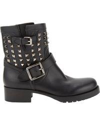 Valentino Rockstud Biker Boots black - Lyst