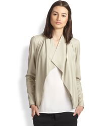 Vince Draped Leather Jacket - Lyst
