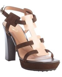 Tod's Nude And Rosewood Leather Strappy Sandals - Lyst