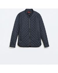Zara Quilted Overshirt - Lyst