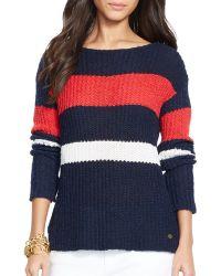 Ralph Lauren Lauren Boat Neck Stripe Sweater - Lyst