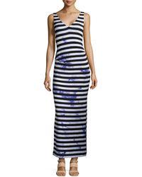 Nicole Miller Maxi Splashdyed Striped Maxi Dress - Lyst