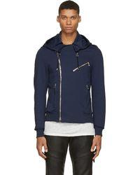 Balmain Navy Jersey Hooded Biker Jacket - Lyst