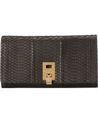 Michael Kors Za Continental Wallet Suede Snake - Lyst