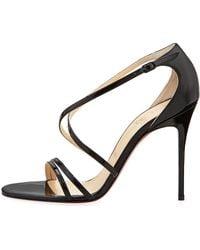 Christian Louboutin Gwynitta Patent Crisscross Redsole Sandal Black - Lyst