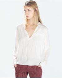 Zara Buttoned Neck Shirt - Lyst