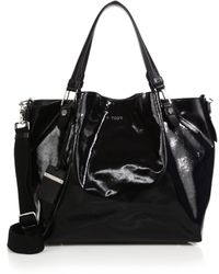 Tod's Flower Small Coated Canvas Tote black - Lyst