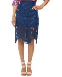 House Of Holland Lace Pencil Skirt - Lyst