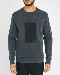 Calvin Klein | Charcoal Square Logo Acid Washed Sweatshirt | Lyst