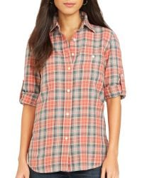 Ralph Lauren Lauren Plaid Cotton Shirt - Lyst