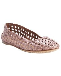 giraffe WALK | Rose Metal Basket Weave Perforated Leather 'channai' Flats | Lyst
