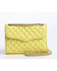 Rebecca Minkoff Pale Yellow Quilted Leather Mini Affair Shoulder Bag - Lyst