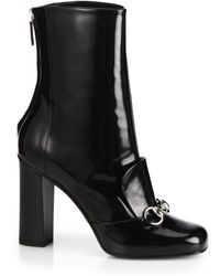 Gucci Lilian Patentleather Horsebit Ankle Boots - Lyst
